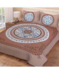 Eye-catching Brown Coloured Print Cotton Double Bedsheet with 2 Pillow Covers - Diva Collection