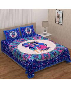 Printed Coloured Cotton Double Bedsheet with 2 Pillow Covers - Diva Collection