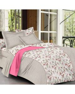 Magnetic Cream Colored Floral Print Cotton King Size Bedsheet with 2 Pillow Covers - Diva Collection