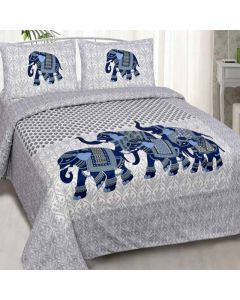 Animal Print Cotton King Size Bedsheet with 2 Pillow Covers - Diva Collection