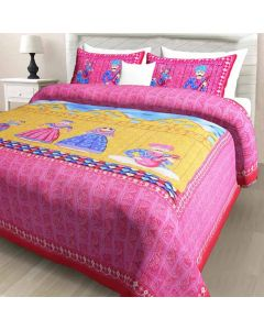 Coloured Print Cotton Double Bedsheet with 2 Pillow Covers - Diva Collection