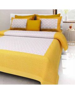 Delightful Yellow Coloured Printed Cotton Double Bedsheet with 2 Pillow Covers - Diva Collection