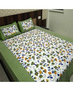 Coloured Printed Cotton Double Bedsheet with 2 Pillow Cover - Diva Collection