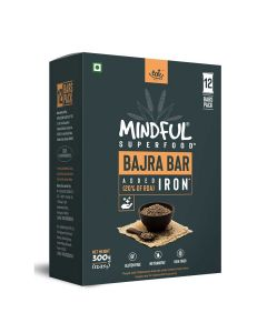 Mindful Bajra Millet Snack Bars Loaded with Iron (1 Box -12 Bars) - Eat Anytime