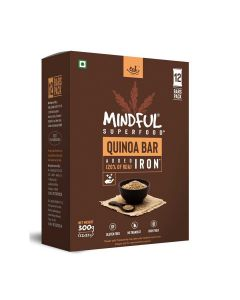 Mindful Quinoa Millet Energy Bars Loaded with Iron (1 Box -12 Bars) - Eat Anytime
