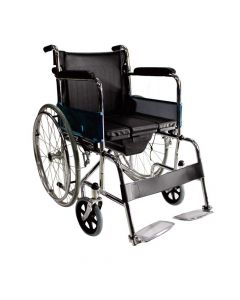 Commode Wheelchair with Foldable Backrest and Detachable Footrest - EasyCare