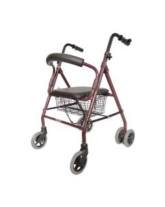 Foldable Rollator with Tool Free Installation (Maroon) - EasyCare