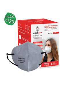 SX 7820 N95 | FFP2 FDA | DRDO & CE Certified Earloop Face Masks (Pack of 20) - Shield Xtra