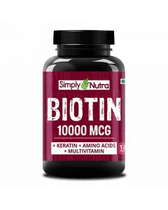 Biotin 10000 MCG Hair Growth Supplement with Keratin, Amino Acids and Multivitamins (120 Tablets) - Simply Nutra