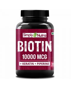 Biotin 1000 MCG Hair Growth Supplement with Keratin & Piperine (90 Tablets) - Simply Nutra