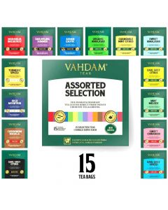 Tea Assortment Tea Bags (1 x 15 Variants - 2 g each) - Vahdam Teas