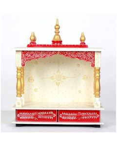 Wooden Temple For Home (20 x 11 x 24 Inch - White and Red) - Kamdhenu Art And Craft