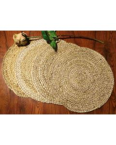 Braided Jute Placemats (35 cm Round) Natural Beige - The Home Talk