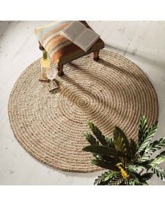 Hand Woven Braided Jute and Cotton Area Reversible Rug - The Home Talk