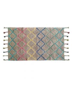 Jute and Cotton Hand Made Rug with Braided Fringes (3 x 5 Feet) Multicolor - The Home Talk