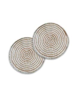 Braided Jute Placemats (35 cm Round) Beige and White - The Home Talk