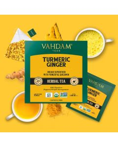 Turmeric Ginger Herbal Tea Tisane (15 Tea Bags x 2 g each) - Vahdam Teas