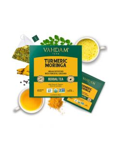 Turmeric Moringa Herbal Tea - 15 Tea Bags (2 gm each) - Vahdam Teas