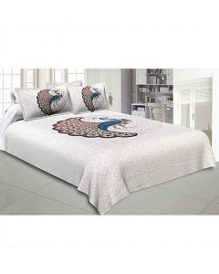 Twill Cotton Bedsheet with 2 Pillow Covers (Dancing Peacock Design) - Jaipur Fabric