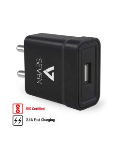 5V 2.1A USB Wall Fast Charging Adapter for Android and iOS Devices (Black) - V7