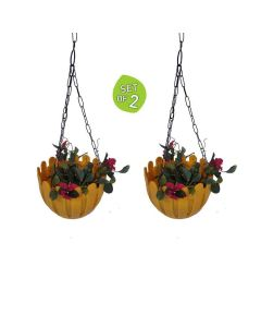 French Nest Plastic Hanging Baskets with Chain (Yellow) - Wonderland