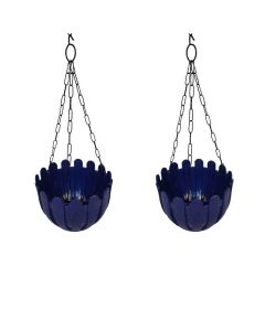 French Nest Plastic Hanging Baskets with Chain (Blue) - Wonderland