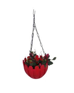 French Nest Plastic Hanging Baskets with Chain (Red) - Wonderland