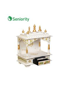 Wooden Temple For Home (18 x 12 x 24 Inch - White) - Seniority