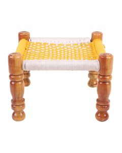 Wooden Stool With Knitted Seat - Ira