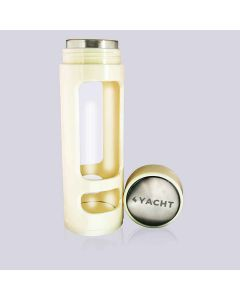 Borosilicate Glass Water Bottle with Protective Sleeve & Leak-Proof Peppy 350 ml Off-white - Yacht