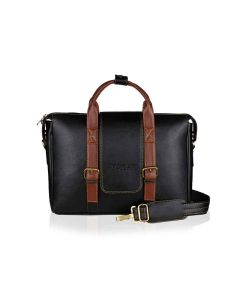 Vegan Leather Laptop Bag with Expandable Storage Unisex Tycoon Series Black - Yacht