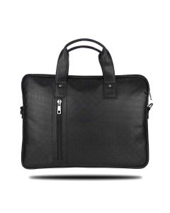 Vegan Leather Laptop Bag with Extra Storage Space Unisex Grand Series Black - Yacht